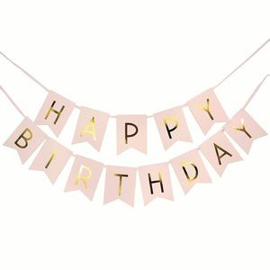 Other - Happy Birthday banner pink gold foil- never used